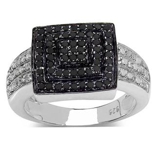 Malaika Sterling Silver 1/2ct TDW Black and White Diamond Square Ring (I-J, I1-I2)
