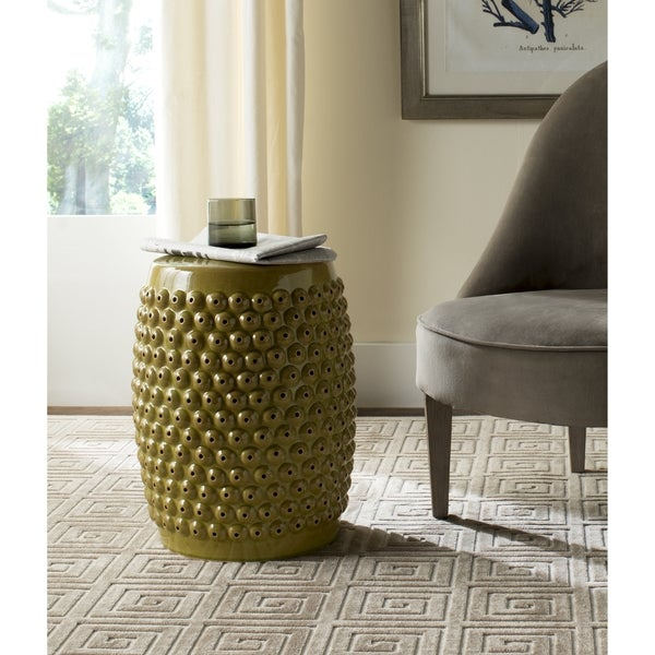 Safavieh Stella Spring Green Nail Head Stool