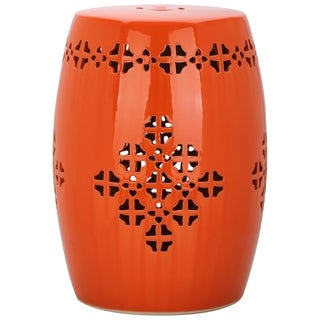 Safavieh Quatrefoil Orange Garden Stool