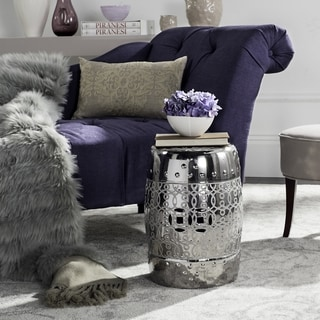 Safavieh Lantana Plated Silver Glazed Ceramic Decorative Garden Stool