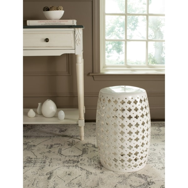 Safavieh Lacey Cream Garden Stool