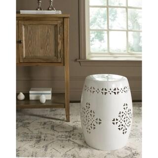 Safavieh Quatrefoil Antique White Garden Stool