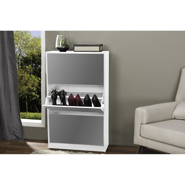 Albany Wood Shoe Storage Cabinet with Mirror In White