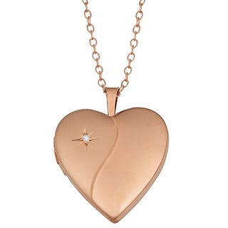 Fremada Rose Gold Over Sterling Silver with Diamond Accent Heart Locket Necklace (18 inch)