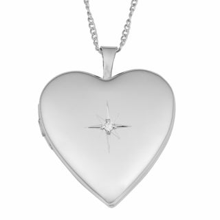 Fremada Rhodium Plated Sterling Silver with Diamond Accent High Polish Heart Locket Necklace (18 inch)