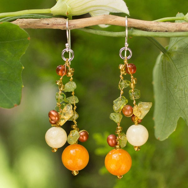 Sterling Silver 'Citrus Party' Pearl Earrings (4-4.5 mm) (Thailand)