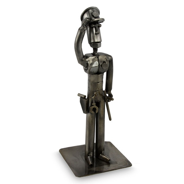 Handcrafted Recycled Metal 'Brave Policeman' Statuette (Peru)