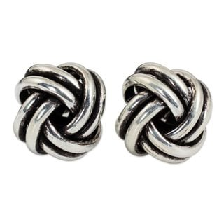 Handcrafted Sterling Silver 'Double Love Knot' Earrings (Thailand)