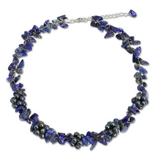 Silver 'Heaven's Gift' Lapis Pearl Necklace (5-5.5 mm) (Thailand)