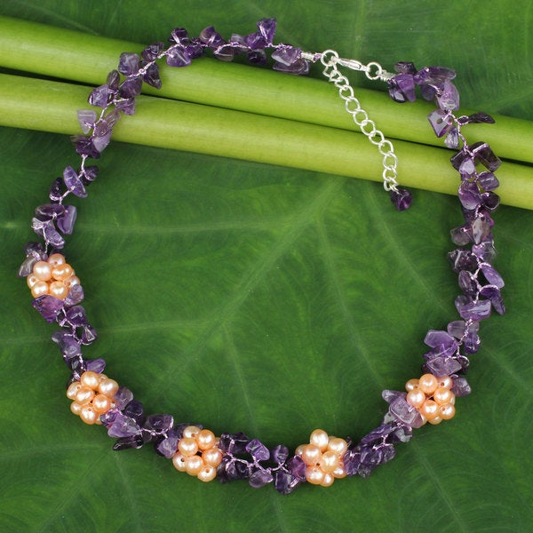 Silver 'Heaven's Gift' Amethyst Pearl Necklace (4.5-5 mm) (Thailand)