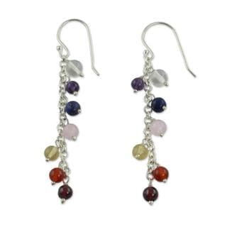 Sterling Silver 'Tranquility' Multi-gemstone Earrings (India)