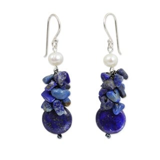 Sterling Silver 'Exquisite' Pearl Lapis Earrings (5 mm) (Thailand)