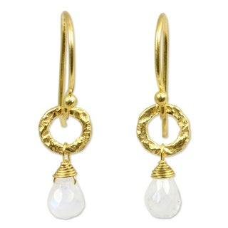 Handcrafted Gold Overlay 'Dewy Suns' Moonstone Earrings (Thailand)