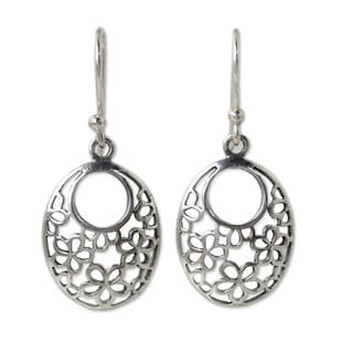 Handcrafted Sterling Silver 'Blooming Trance' Earrings (Thailand)