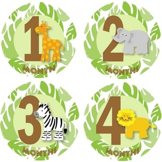 Rocket Bug Safari Animals Monthly Baby Bodysuit Stickers