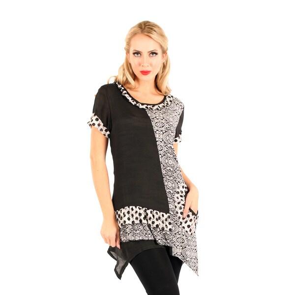 Firmiana Women's Black/ White Short Sleeve Ruffle Top