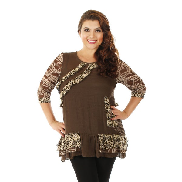 Firmiana Women's Plus Size Mocha 3/4-sleeve Ruffle and Lace Top