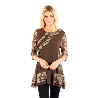 Firmiana Women's Mocha 3/4-sleeve Lace and Ruffle Top