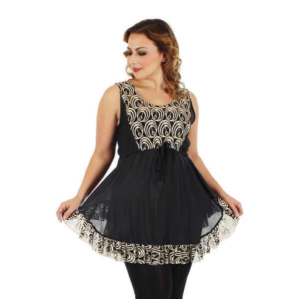 Firmiana Women's Plus Size Black/ Beige Lace and Ruffle Sleeveless Waist Tie Top