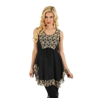 Women's Black/ Beige Lace and Ruffle Sleeveless Waist Tie Top