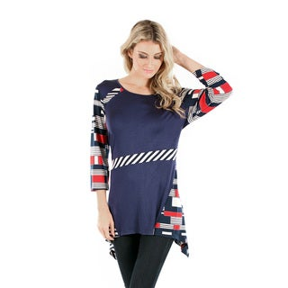 Firmiana Women's Blue/ Multicolor Long Sleeve Top with Sidetail