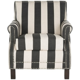 "Safavieh Easton Black and White Stripe Club Chair - 28.3"" x 33.1"" x 31.7"""