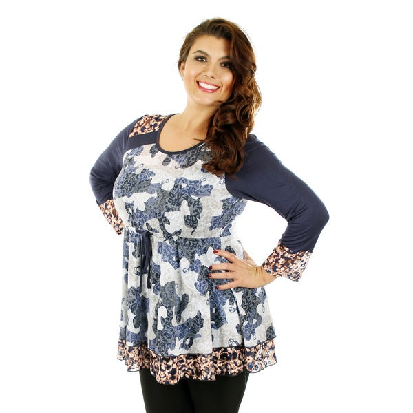 Firmiana Women's Plus Size Blue/ Multicolor Long Sleeve Lace and Tie Waist Top