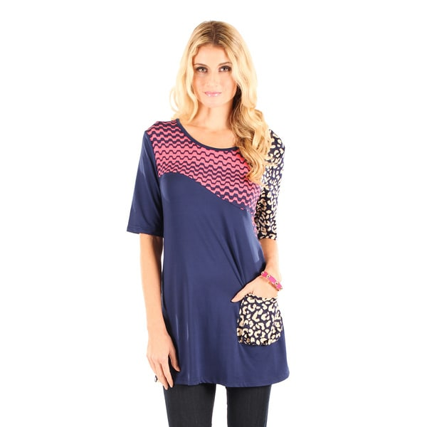 Firmiana Women's Blue/ Multicolor Elbow Length Sleeve Single Front Pocket Top