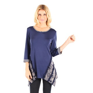 Firmiana Women's Blue/ Multicolor 3/4-sleeve Top with Sidetail