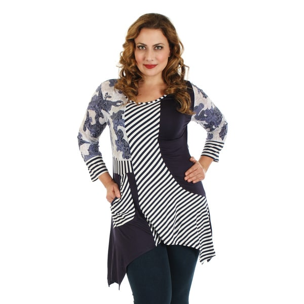 Firmiana Women's Plus Size Blue/ White Long Sleeve Stripe Single Front Pocket Top