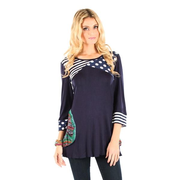 Firmiana Women's Blue/ Multicolor Polka Dot and Stripe 3/4-sleeve Top