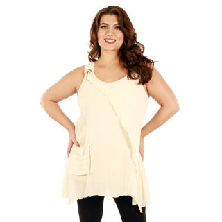 Firmiana Women's Plus Size Cream Color Sleeveless Layered Ruffle Top