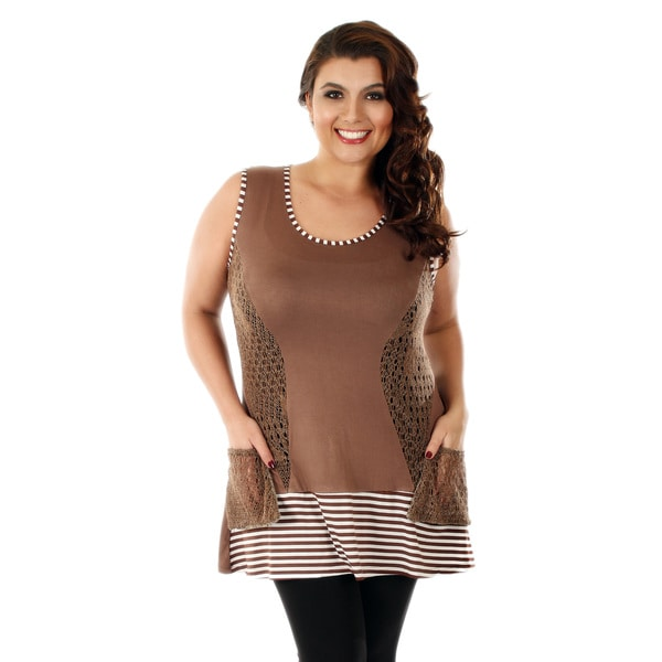 Firmiana Women's Plus Size Mocha/ White Sleeveless Top
