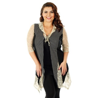 Firmiana Women's Plus Size Black/ Cream 3/4-sleeve Lace Open Front Cardigan