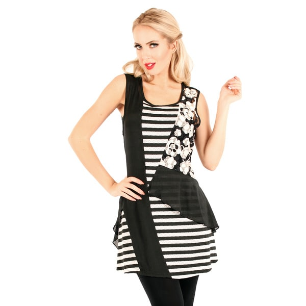 Firmiana Women's Black/ White Stripe and Floral Pattern Lace Sleeveless Top