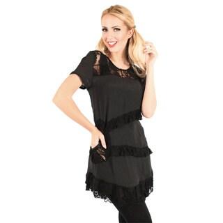 Firmiana Women's Black Short Sleeve Lace Top