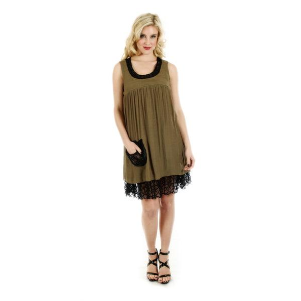 Firmiana Women's Black/ Brown Sleeveless Layered Lace Dress