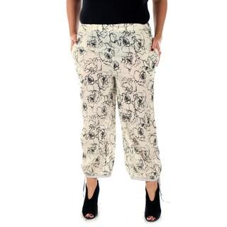 Women's Plus Size Beige Loose-fitting Long Dress Pants