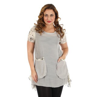 Women's Plus Size Grey/ Cream Short Sleeve Top