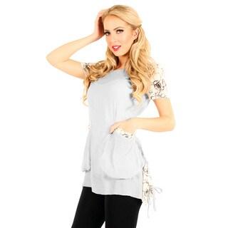 Firmiana Women's Grey/ Cream Color Short Sleeve Top