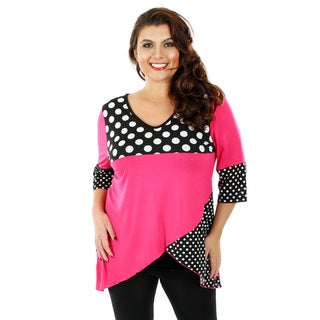 Firmiana Women's Plus Size Black/ Pink Polka Dot 3/4-sleeve Top with