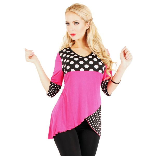 Firmiana Women's Black/ Pink Polka Dot 3/4-sleeve Top