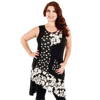 Firmiana Women's Plus Size Black/ White Sleeveless Floral Pattern Dress