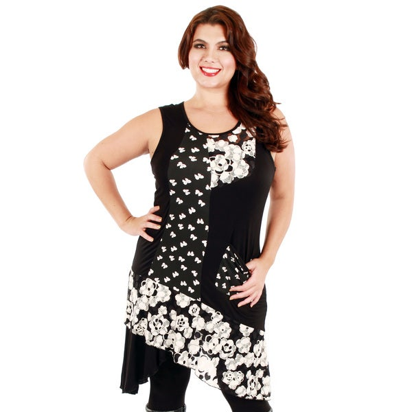 Firmiana Women's Plus Size Black/ White Sleeveless Floral Pattern Dress