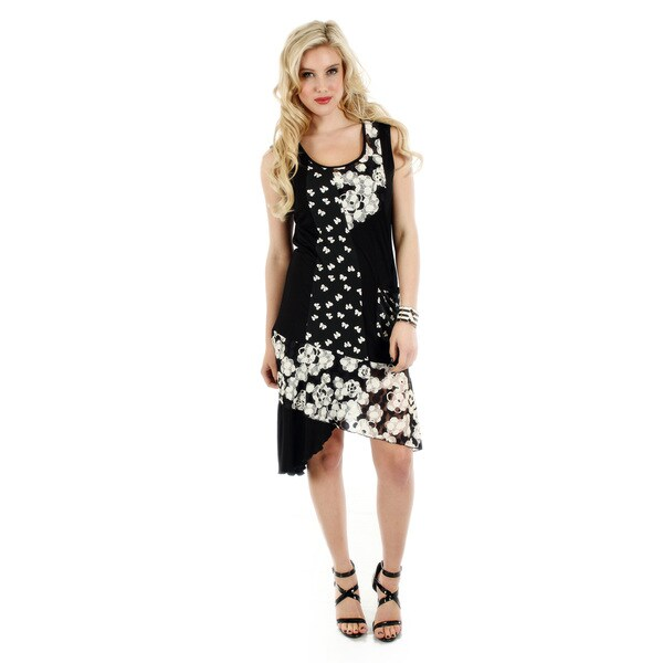 Firmiana Women's Black/ White Sleeveless Floral Pattern Dress