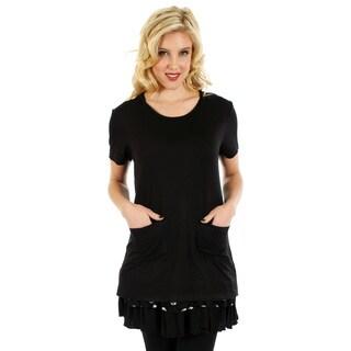 Firmiana Women's Black/ White Lace Polka Dot Short Sleeve Top