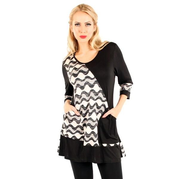 Firmiana Women's Black/ White 3/4-sleeve Top