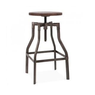 Machinist Rustic Wood Seat Adjustable Barstool 26-32 inches