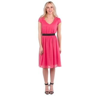 DownEast Basics Women's Crinkle Chiffon Dress