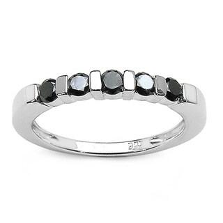 Malaika Sterling Silver 1/2ct TDW Black Diamond Ring
